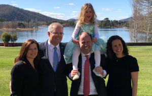 The Hon. Josh Frydenberg MP with his wife and daughter, with the Prime Minister of Australia The Hon Scott Morrison MP and his wife.