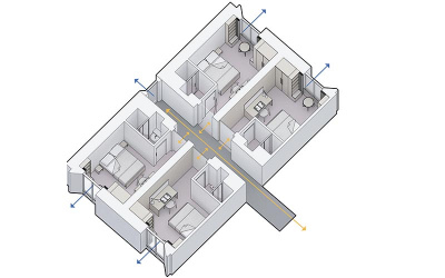 Plans for bedroom wings