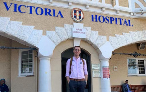 Mark Brookes outside of the Victoria Hospital