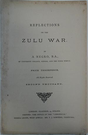 Title page of Reflections on the Zulu War