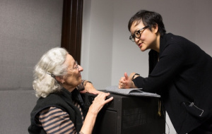 Professor Ruth Chang in discussion following a lecture