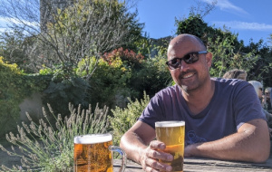 Dr Rajendra Chitnis in a pub garden