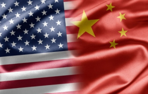 Flags of US and China