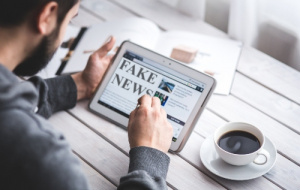 Tablet saying Fake News
