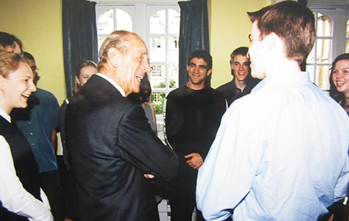 Prince Philip with students in the JCR