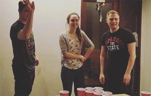 Members of the WCR playing beerpong