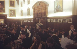 WCR members at a meal in Hall