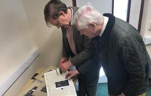 Allan Blaza and Robin Darwall-Smith in Univ's archives