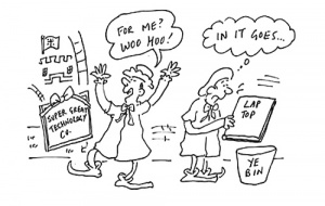 Cartoon showing someone putting their laptop in 'ye bin' and getting super great technology from Univ instead