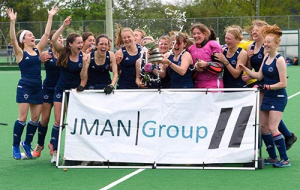 Grace Annetts celebrating win with the hockey team