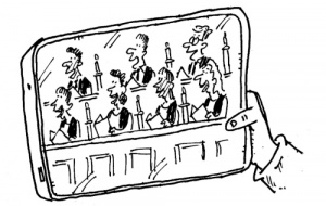 Cartoon of mobile phone showing a video of evensong